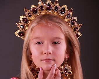 Weddinq Crystal Crown Gold Red Tiara Earrings Bridal Headpiece Headband Taira for Bridesmaids Hair Accessory Queen Princess Marsala clear
