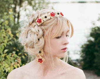 Black Red Gold Headband Dolce bridesmaids Tiara Earrings Evening gift crystal crown bride Custom jewel women gold and red party  head piece