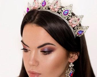 Silver White Hot pink Pearls Wedding Bridal Jewelry Set Crown Tiara Earrings Queen Headpiece Headband Hair accessories Birthday Photo Prop