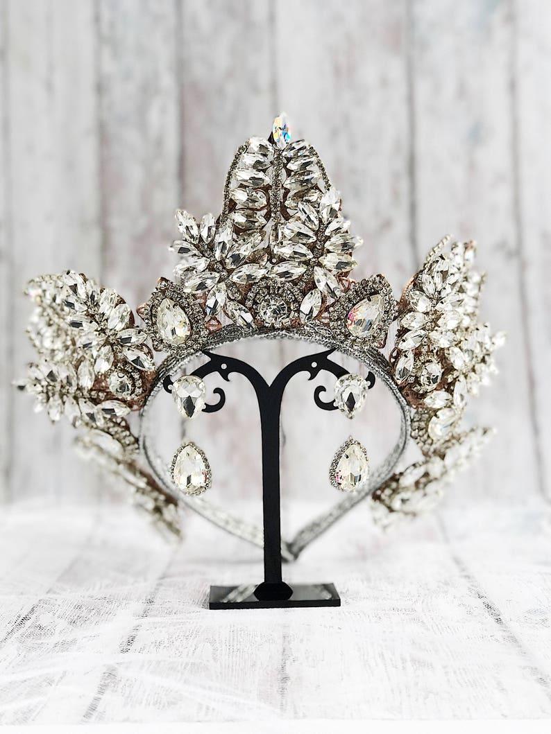 White Crystal Crown Tiara Wedding Bridal Raw Victorian Rose  1e8f918fee77