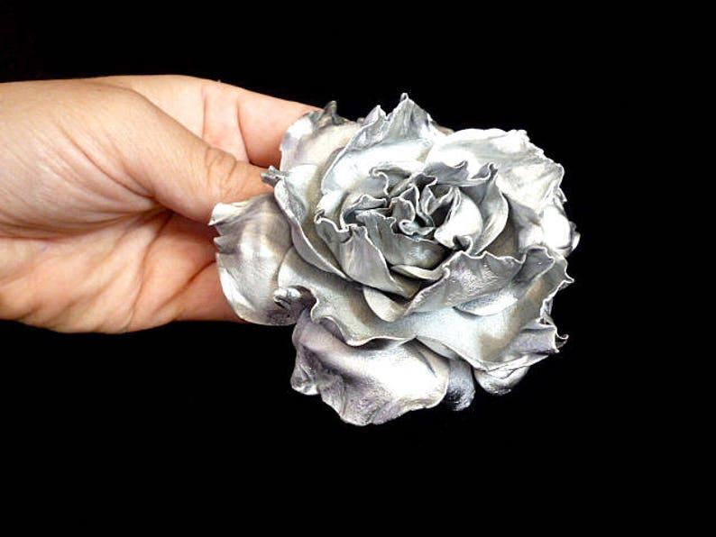 Silver Rose Hair Clip Wedding Bridal Rose Hair band image 0