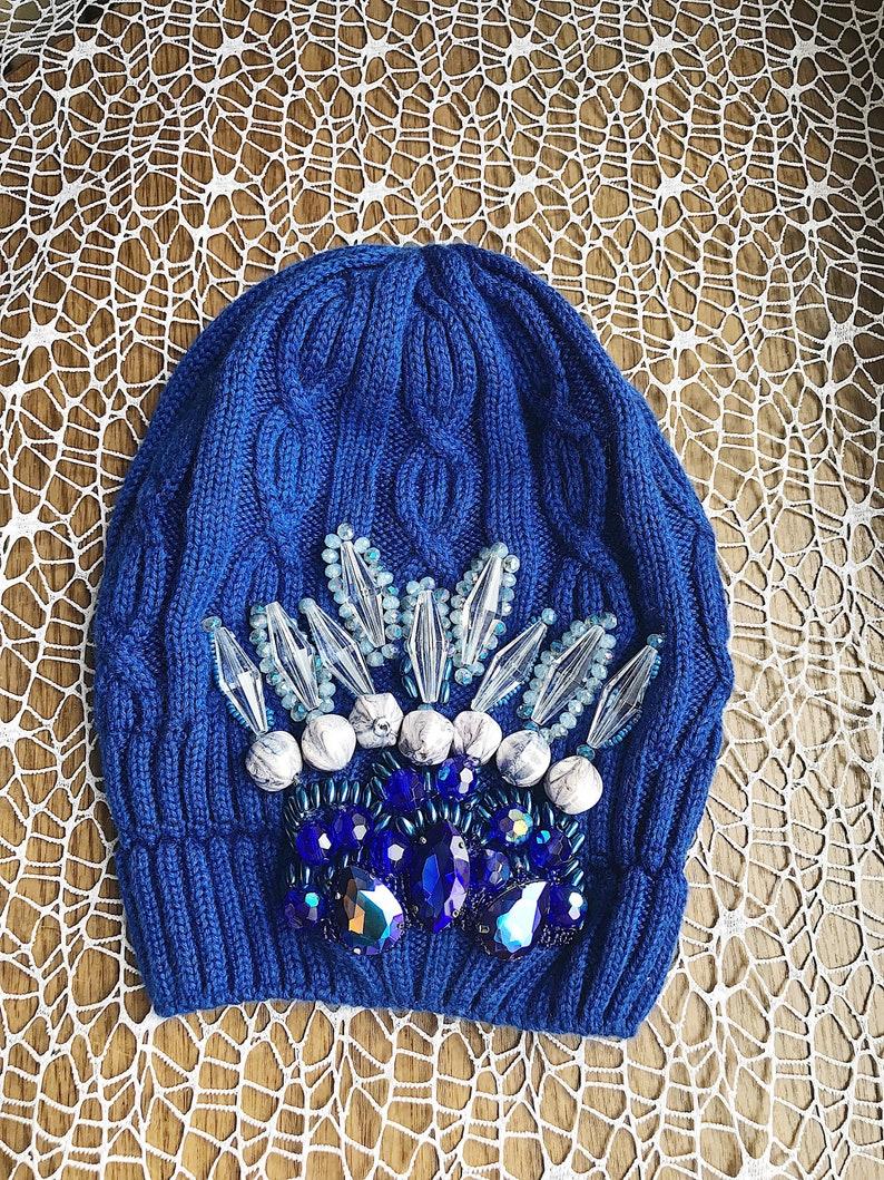 Royal blue Spring Winter Hat Knit Crystals Bling Embellished  9583503b269
