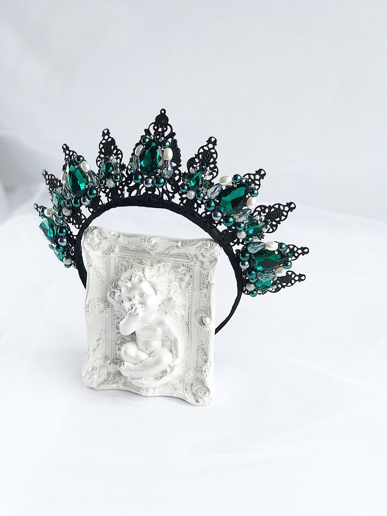 Black Emerald Crystal Crown Prom Party Tiara Royal Wedding  904d592f391d