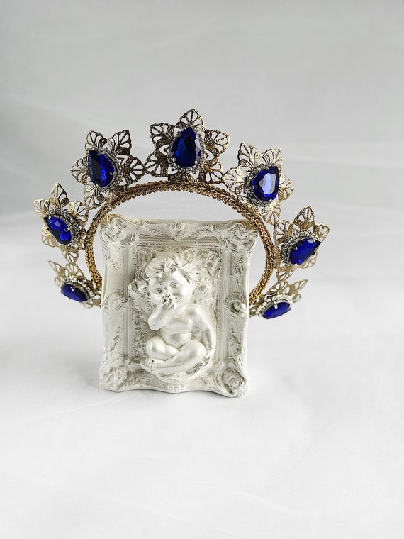 "Men Blue Velvet Tiara Diadem 7/"" Crystal Imperidal Medieval Crown Party Costume"
