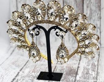 Gold Tiara Earrings Bridal Wedding Diamante Jewelry Gift Hair Accessories Diadem Crystal Bridesmaid Headpiece Birthday Headband Royal Queen