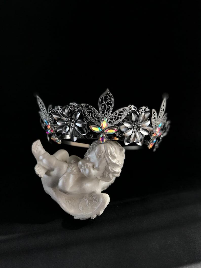 Silver Rainbow Crystal Crown Renaissance Tiara Bridesmaid Headband Wedding Medieval Bridal Royal Cocktail Birthday Custom twig tiara silver