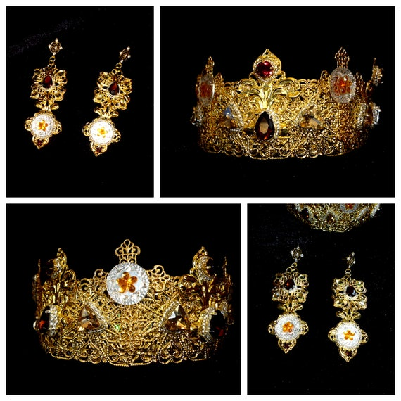5.5cm High Gold Dangle Big Pearl Crystal Wedding Bridal Party Pageant Prom Tiara