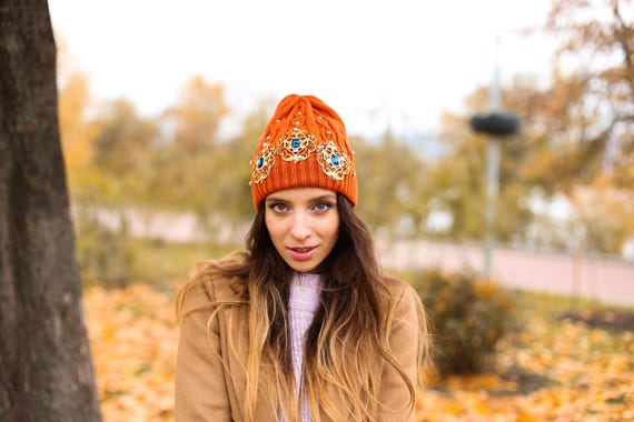 f99b4452dfa Amber womens Hat crystals autumn maple color Dolce fashionable