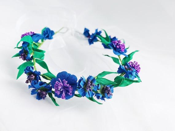 Dark Blue cornflowers floral crown bridal flower crown Royal  2343cf093c7