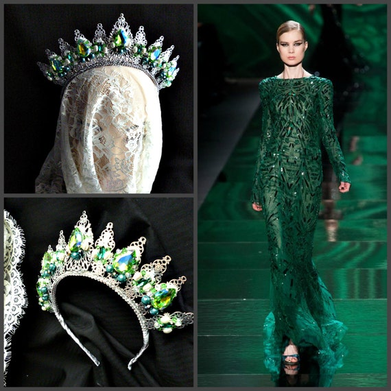Emerald Green Silver Wedding Metal Crown Tiara Gift Ideas For Etsy