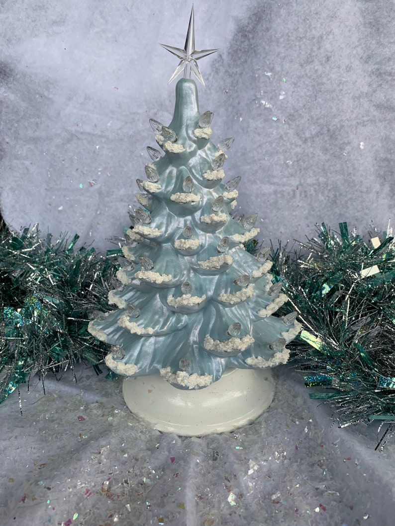 Ceramic Christmas Tree Small Blue Ice | Etsy