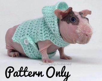 Crochet Pattern Guinea Pig Hoodie, Guinea Pig Clothes Pattern, Guinea Pig Sweater, Skinny Pig Sweater