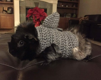 Guinea Pig Shark Costume, Guinea Pig Clothes, Skinny Pig Sweater, Cavy Sweater, Small Pet Clothes, Crochet Pet Sweater, Accessories