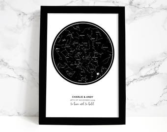 A5 PERSONALISED STAR MAP | keepsake, personal christmas gift, wedding, anniversary, new baby gift
