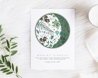 BOTANICAL MOON PHASE Prints - planting by the moon, moon phase gardening