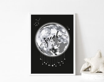 LULLABY MOON Personalised Print - personalised kids full moon print with star sign constellation