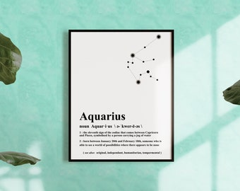 AQUARIUS CONSTELLATION PRINT - Zodiac wall art, astrology wall art, January - February Birthdays