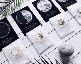 8 PIECE MOON PHASE wax melt and print set - 4 soy wax melts & 4 A6 Prints - moon healing, energy, astrology, waxing, waning