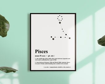 PISCES CONSTELLATION PRINT - Zodiac wall art, astrology wall art, February - March Birthdays