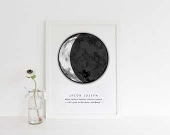 A3 PERSONALISED MOON PHASE | keepsake, personalised, valentines gift, wedding, anniversary, new baby gift