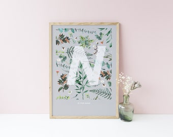 BOTANICAL INITIAL PRINT - choice of letters, characters & colours available