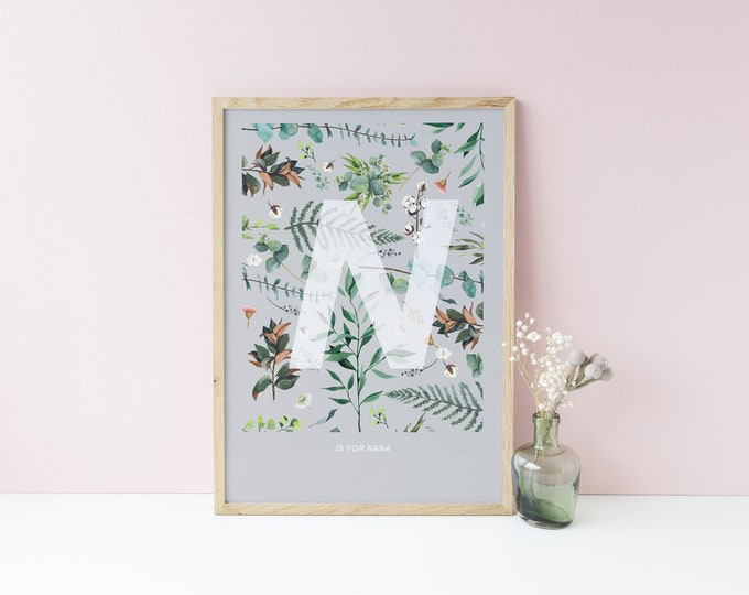 Featured listing image: BOTANICAL INITIAL PRINT - choice of letters, characters & colours available