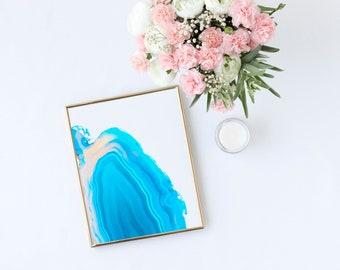 AGATE WALL ART - Turquoise - Geode, digital illustration, crystal print