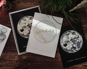8 FOIL CHRISTMAS cards - monochrome, marble, gold, silver