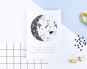 TERRAZZO PASTEL MOON Phase Prints - moon healing, energy, astrology, waxing, waning