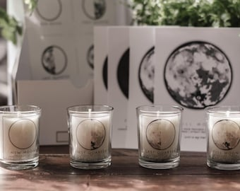 8 PIECE MOON PHASE candle and print set - 4 soy candles & 4 A6 Prints - moon healing, energy, astrology, waxing, waning