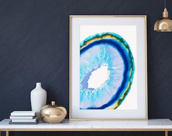 AGATE WALL ART - Blue - Geode, digital illustration, crystal print
