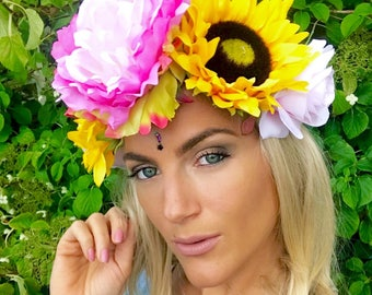 Yellow Sunflower Pink Peony Rose Flower Crown Hair Band