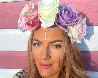 Pastel Silk Rose Flower Crown Feather Charm Hair Head Band