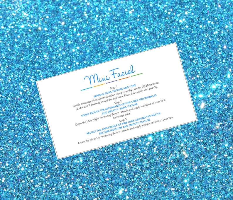 91d0bafb8aa65 12 DIY Rodan and Fields Mini Facial Printable instruction cards. 2x3.5  Ready to Print Give it a Glow Business card