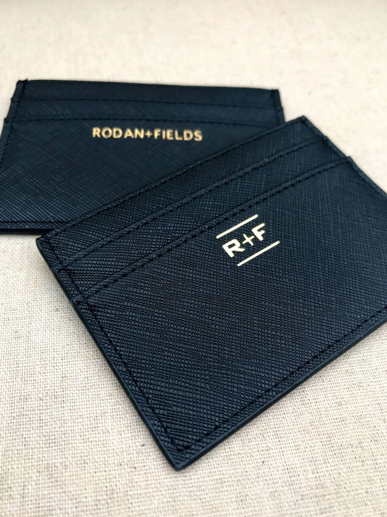 60f314d24347f Rodan and Fields business card holder RF Saffiano Leather wallet Mini  wallet Custom Monogram card case Business gift