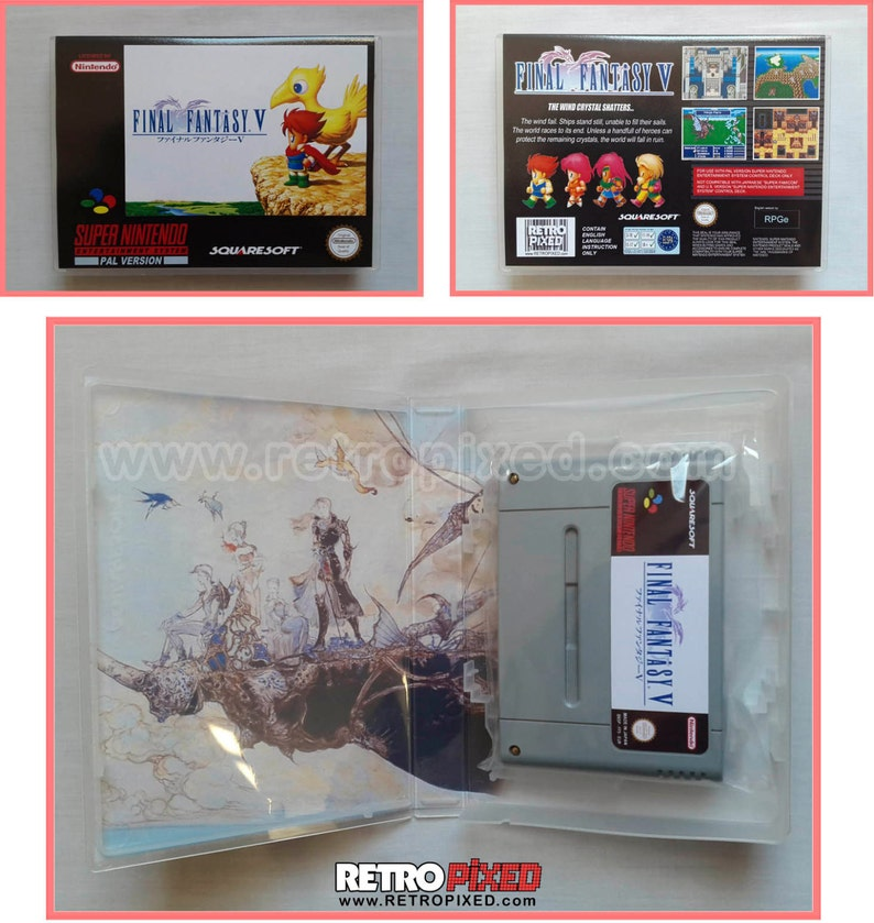 Final Fantasy V SNES Reproduction PAL English, French, German