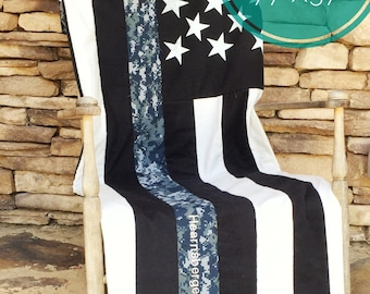 Navy Gift - Sailor Gift - American Flag Blanket - Navy Quilt - Navy - Navy Boat Bedding - Navy Wife - Navy Family - Military Gift - Military