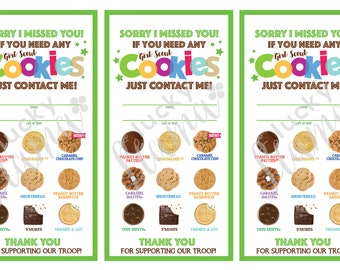 picture relating to Girl Scout Cookie Thank You Notes Printable named Cookie mother Etsy