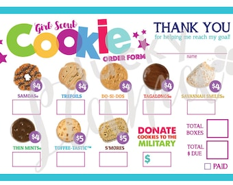 2020 Lbb Mini Girl Scout Cookie Thank You Order Form Etsy