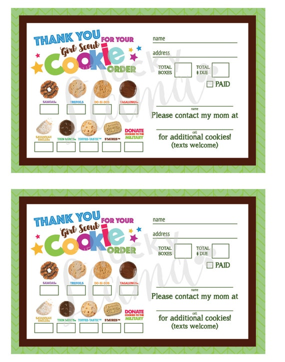 photograph about Girl Scout Cookie Thank You Note Printable referred to as Scout Cookie Obtain Kind Pdf - Residence Cookies