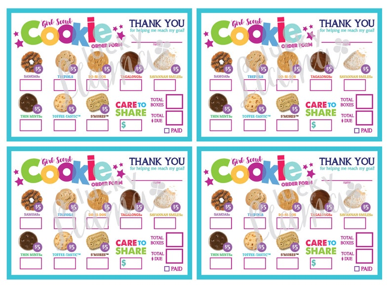 picture relating to Girl Scout Cookies Order Form Printable identify LBB Mini Female Scout Cookie Invest in Type- Treatment in the direction of Percentage (all 5 greenback packing containers) - Printable