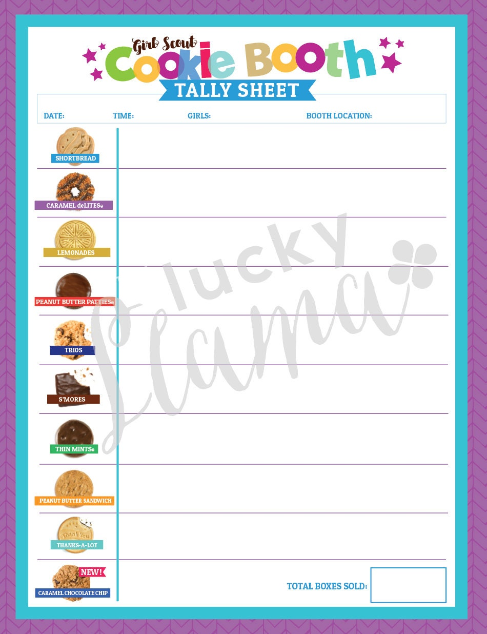 Abc Cookie Booth Tally Sheet With New Gf Cookie Etsy