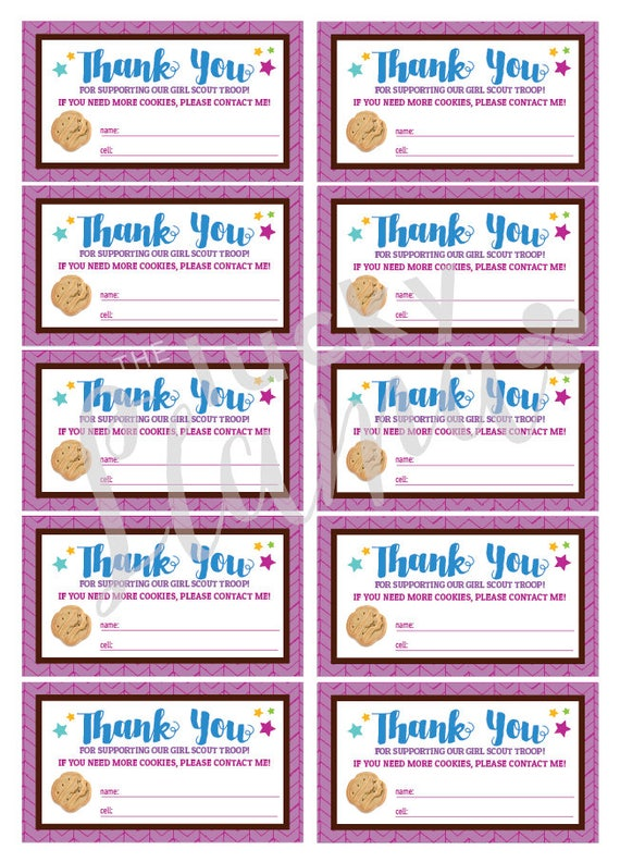 Girl Scout Cookie Thank You Business Cards Printable Etsy