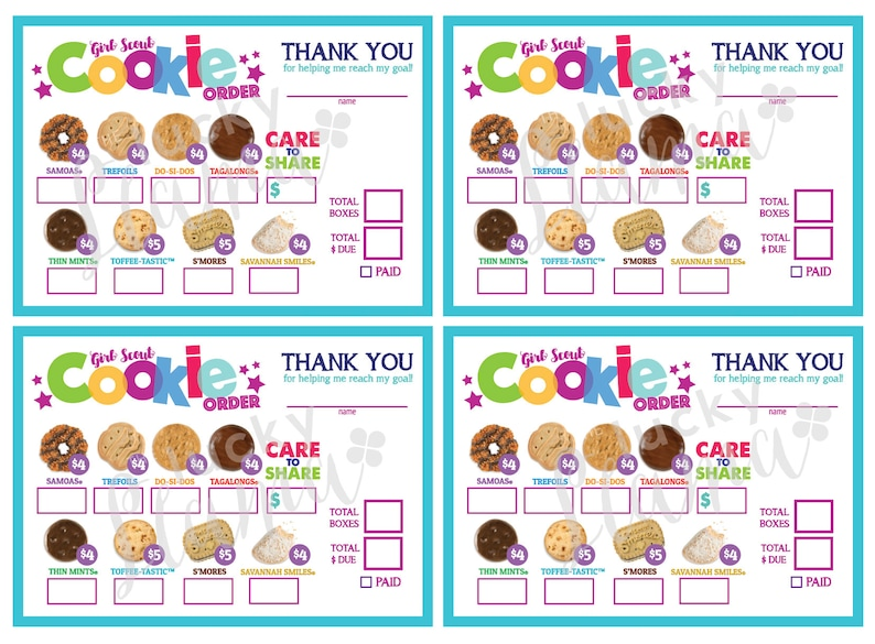picture about Printable Girl Scout Cookie Order Form known as LBB Mini Woman Scout Cookie Buy Kind (Treatment toward Percentage Donation) - Printable