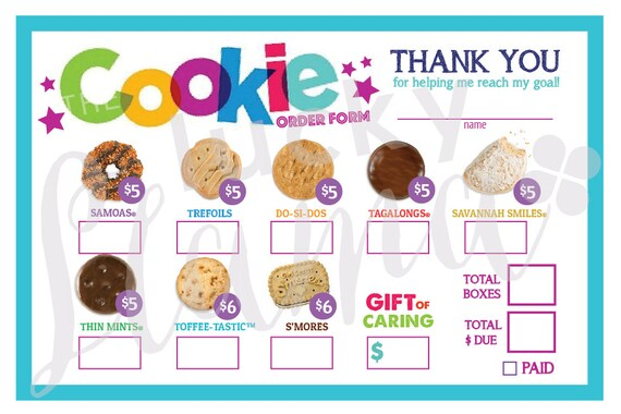 2018 girl scout cookie order form printable | etsy