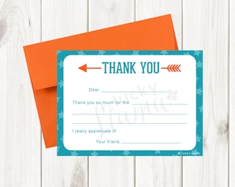 Kids Fill In The Blank Thank You Cards - Orange and Teal