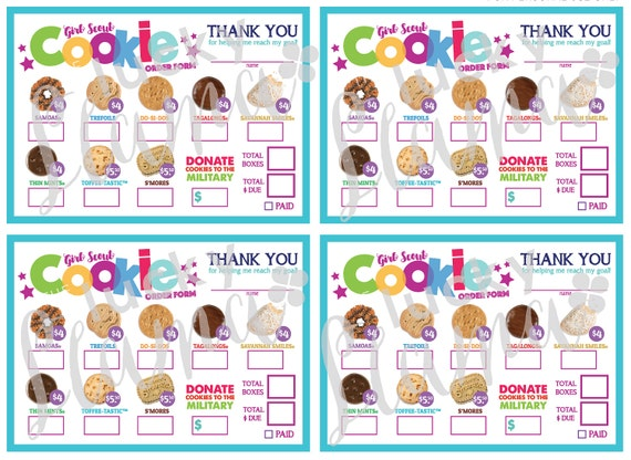 This is an image of Girl Scout Cookie Order Forms Printable with little brownie bakers