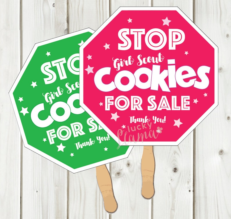 photograph relating to Stop Sign Printable named Lady Scout Cookie Reduce Indicator Printable - Fast Obtain