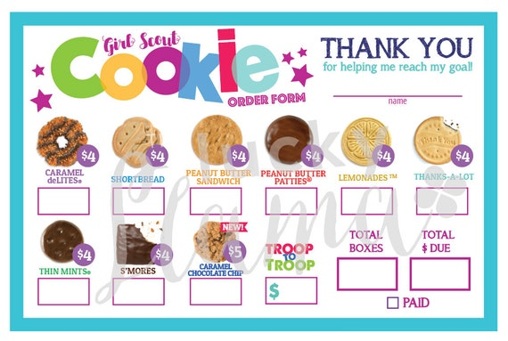 Abc Girl Scout Cookie Order Form With Troop To Troop Donation 4 5 Printable