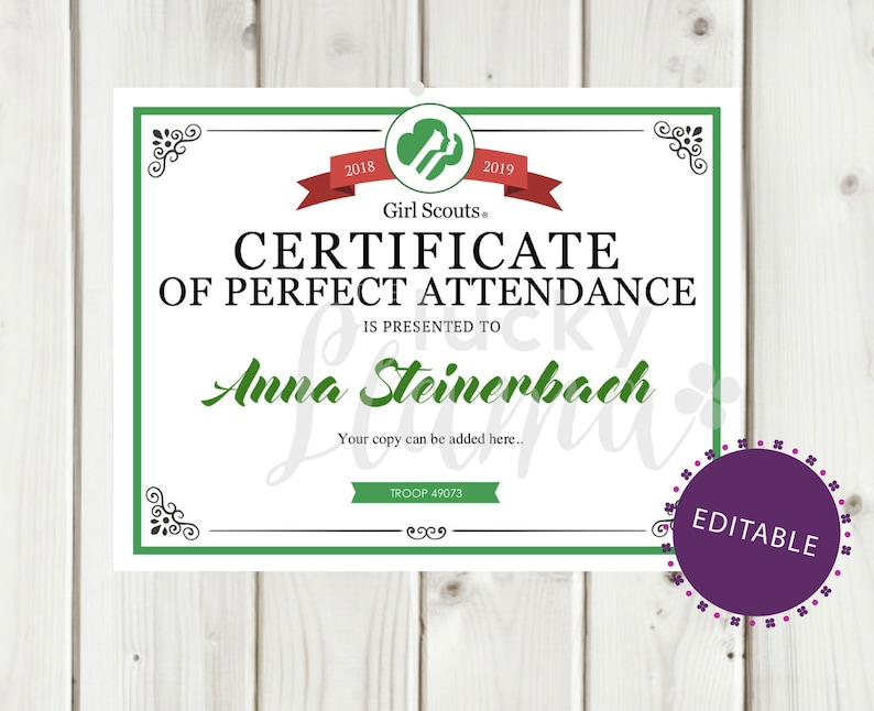 image regarding Perfect Attendance Certificate Printable titled Female Scout Ideal Attendance Certification/Award Printable- Editable Prompt Obtain